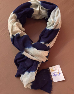 Indigo Stripes Vegetable Hand Dyed Wool Stole