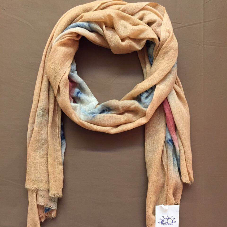 Multi-Colored Vegetable Hand Dyed Wool Stole
