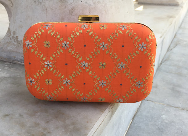 Hand Embroidered Aari Banarasi Orange Jaal