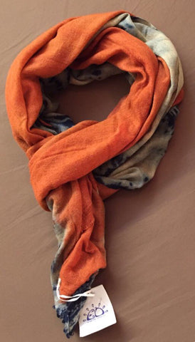 Madder Root/ Indigo Vegetable Hand Dyed Wool Stole