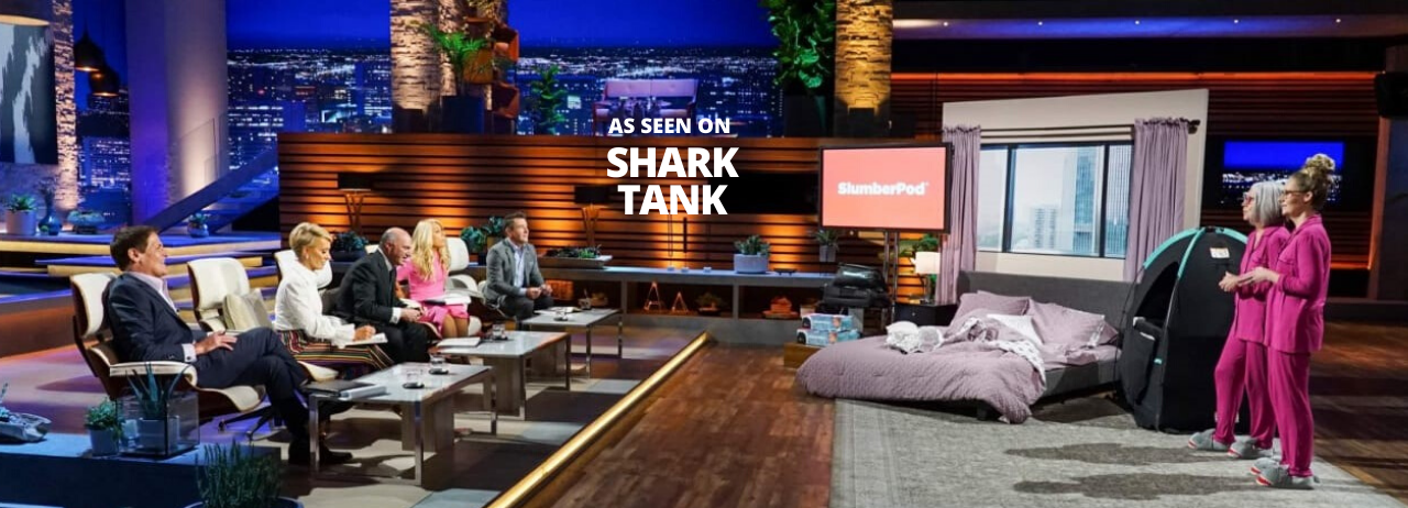 Creators present SlumberPod in front of the shark tank investors