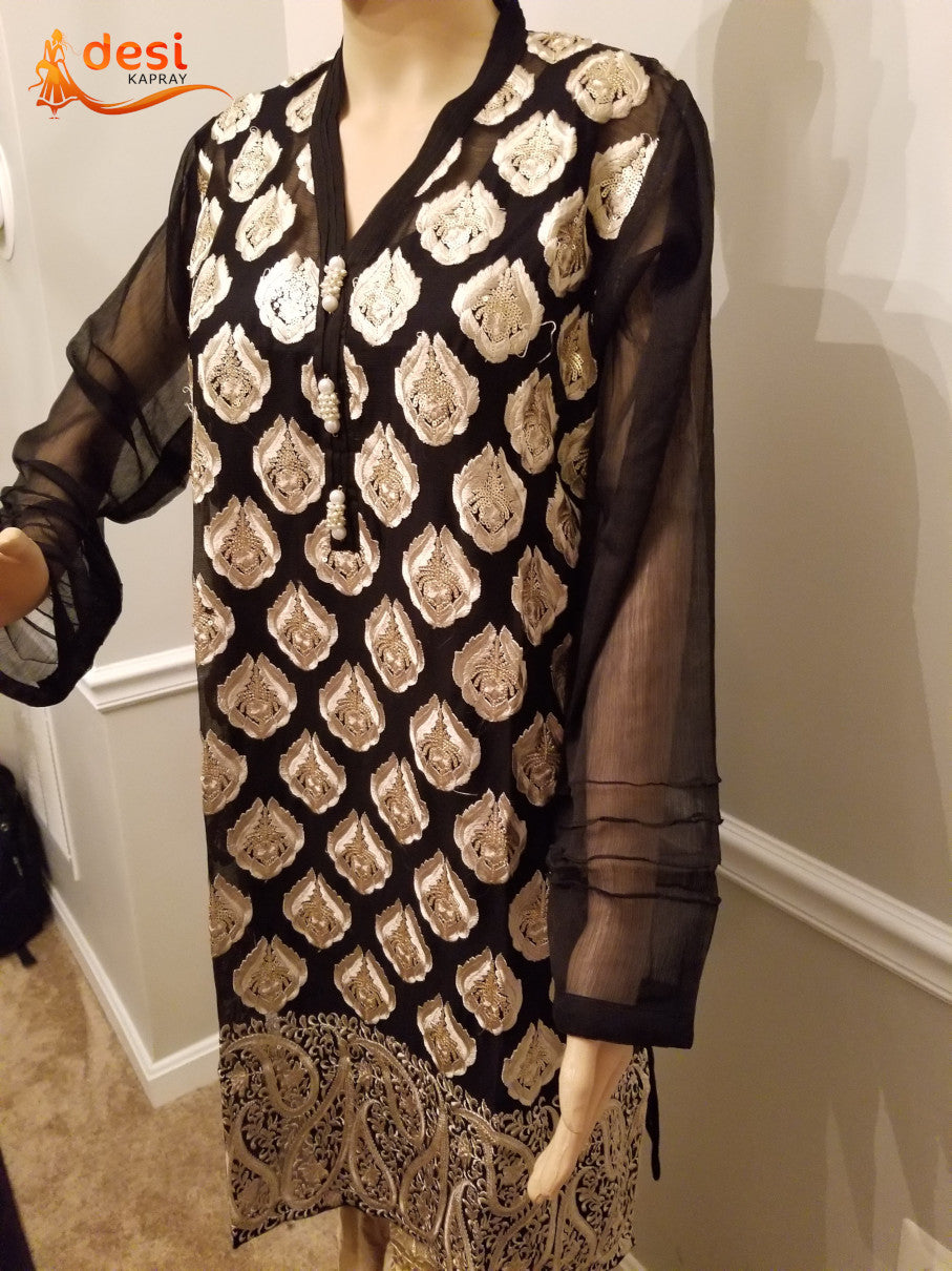 Black shirt with Full embroidery and sitara work, pearls in the front