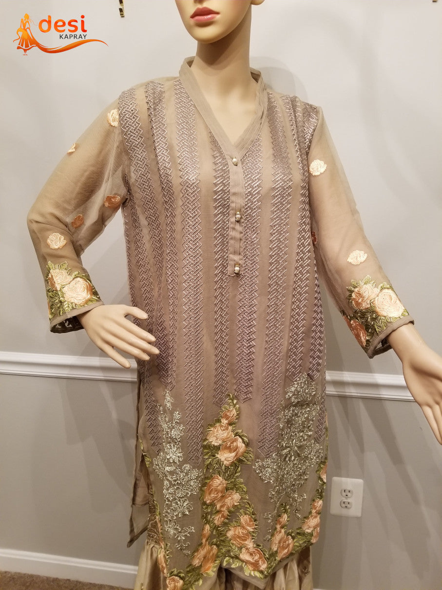 Gray shirt with full embroidery , tilla work, pearl on the front