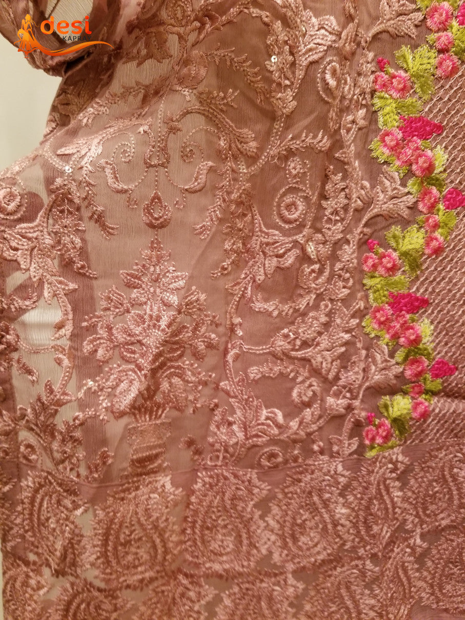 Tea Pink shirt with full embroidery and sitara work