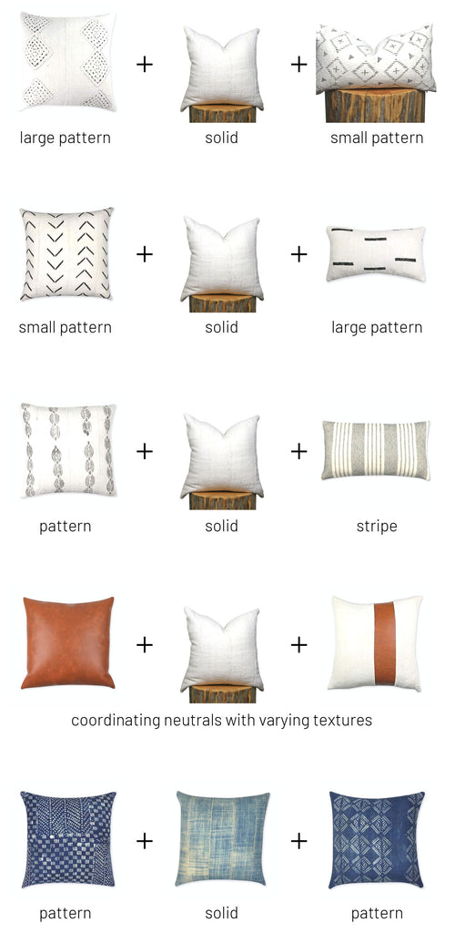 mixing throw pillow patterns from Colin and Finn by the spruced home