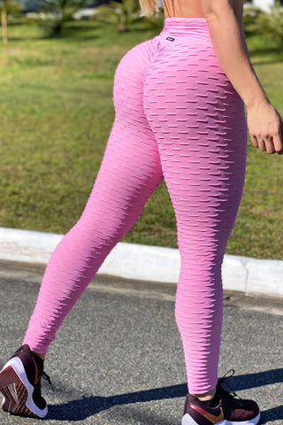 Pink Tropical Scrunch Legging Pants
