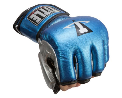 TITLE MMA Menace Metallic Training Gloves - BLUE/SILVER