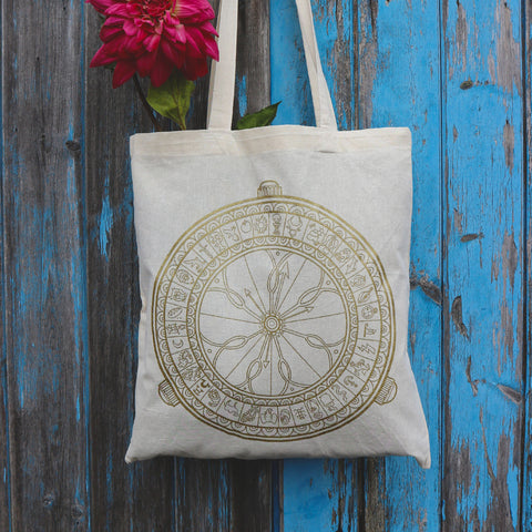 His Dark Materials, Alethiometer inspired Screen Printed tote bag
