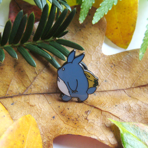 Medium Blue Totoro inspired fan Enamel Pin