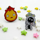 Howl's Moving Castle Calcifer and Soot Sprite inspired fan Pin