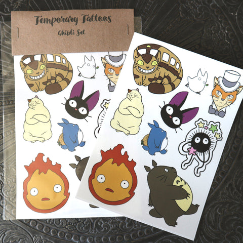 Studio Ghibli inspired A5 Temporary fan Tattoo Sheet