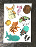 Animal Menagerie A5 Temporary Tattoo Sheet