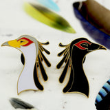 Black & White Secretary Birds Enamel Pin Pack