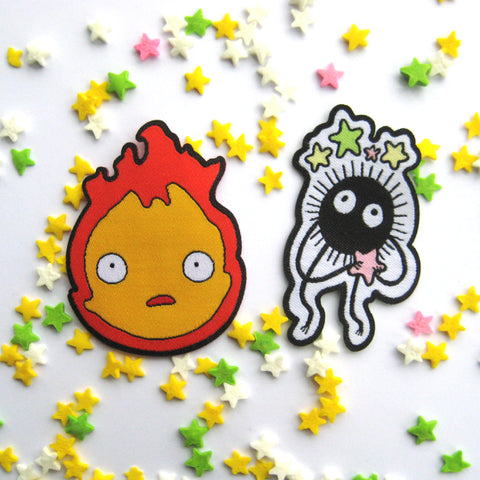 Set of two Iron on Patches - Howl's Moving Castle Calcifer and Soot Sprite inspired fan Patches