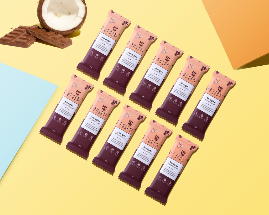 10 bars in a box of Lamington Wholefoods Bars by Super Cubes