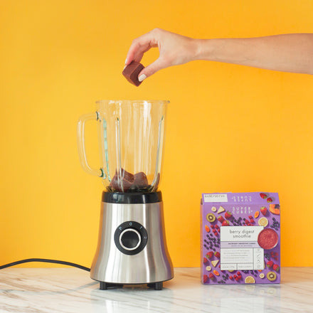 All it takes is a blender to make your own smoothie recipes using the Frozen Berry Digest Smoothie Cubes from Super Cubes