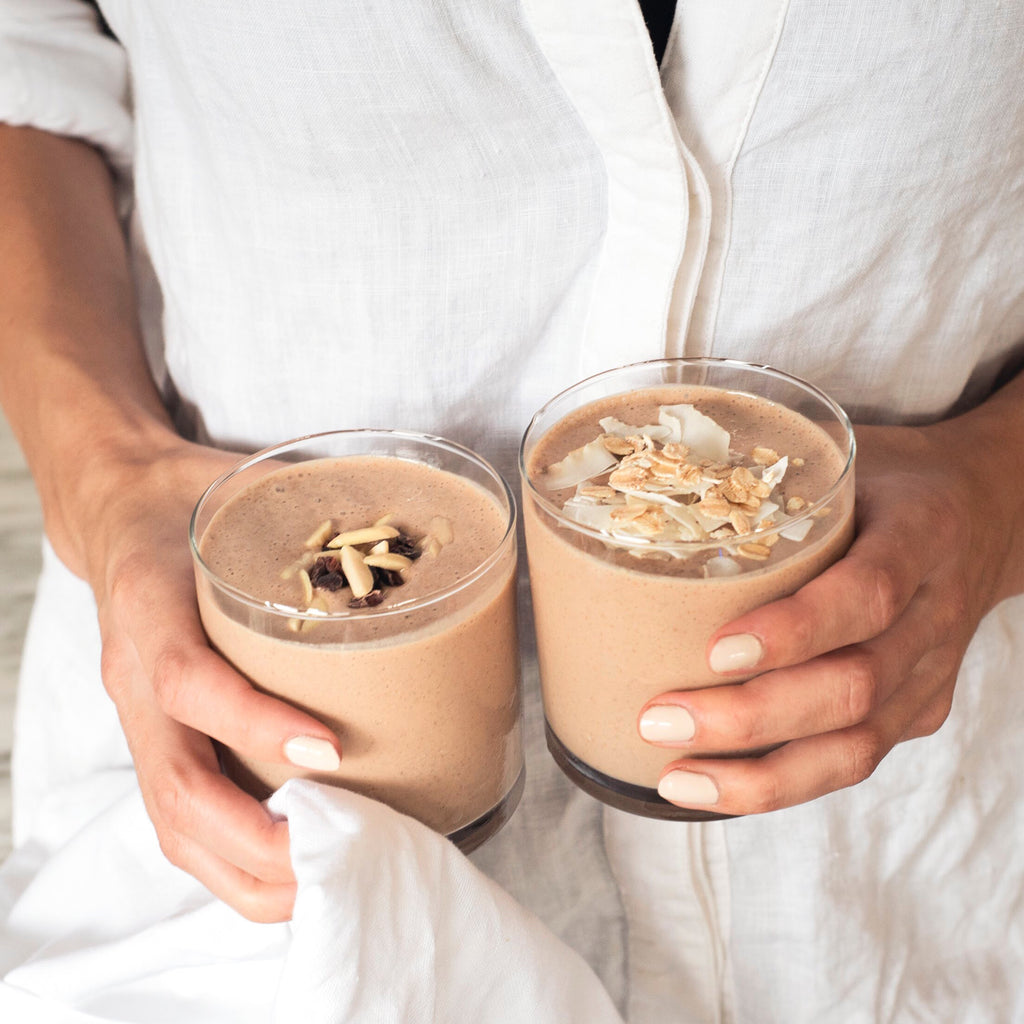 Choc Banana Smoothies for two anytime of the day