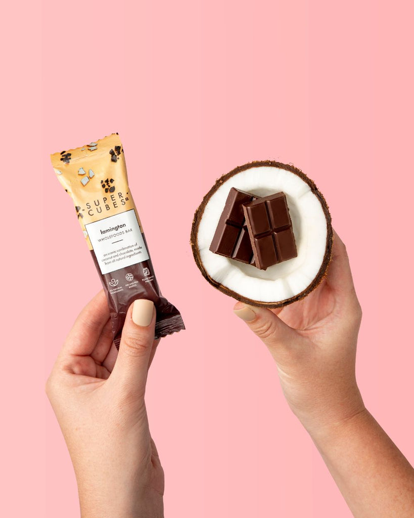 Bars made with coconut and chocolate, the Lamington Wholefoods Bars