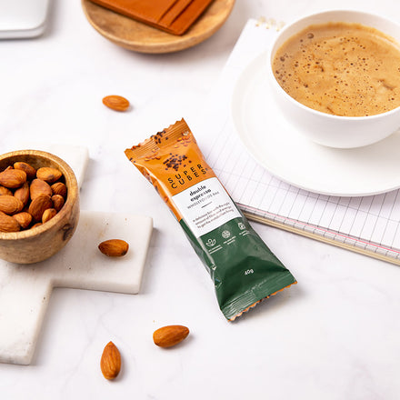Afternoon coffee with your favourite snack, Double Espresso Wholefoods Bars by Super Cubes