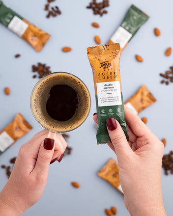 Double Espresso Wholefoods Bars and a coffee, the perfect morning snack