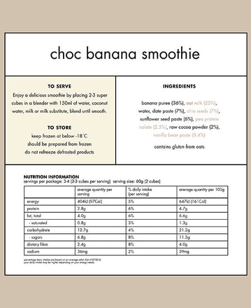Nutritional Panel of the Frozen Choc Banana Smoothie Cubes from Super Cubes