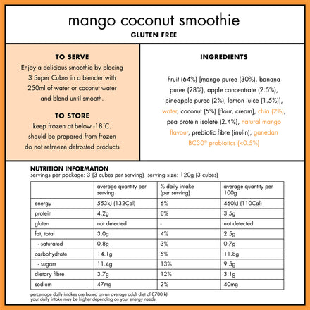 Nutritional Panel of the Frozen Mango Coconut Smoothie Cubes by Super Cubes