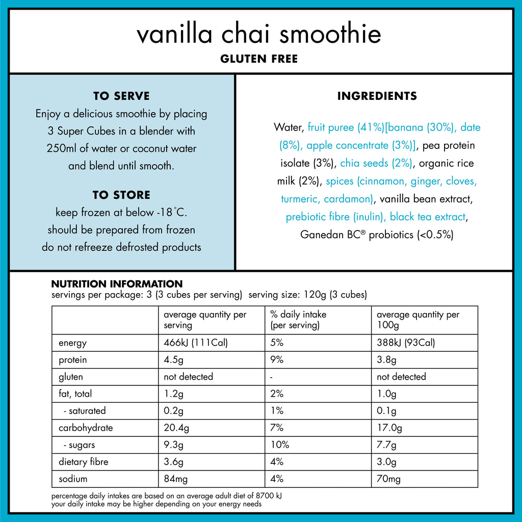 Nutritional Panel of the Frozen Vanilla Chai Smoothie Cubes from Super Cubes