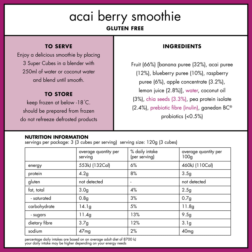Nutritional Panel of the Frozen Acai Berry Smoothie Cubes from Super Cubes