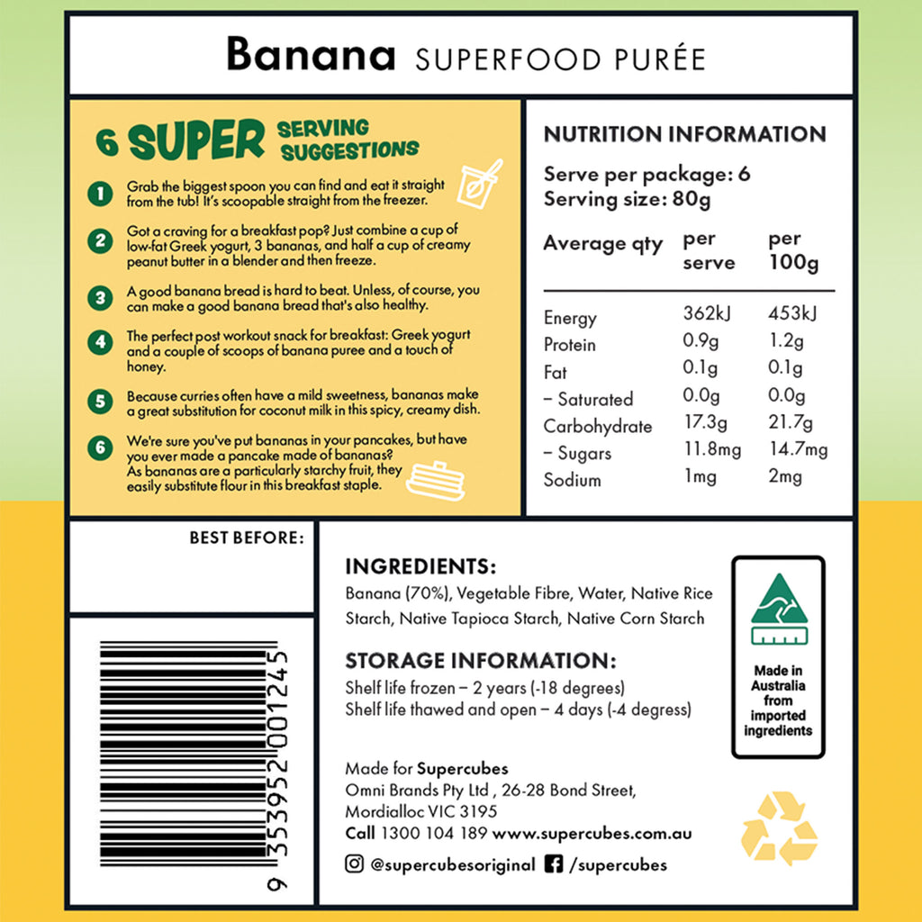 Ingredients in the Banana Superfood Purée 1L by Super Cubes
