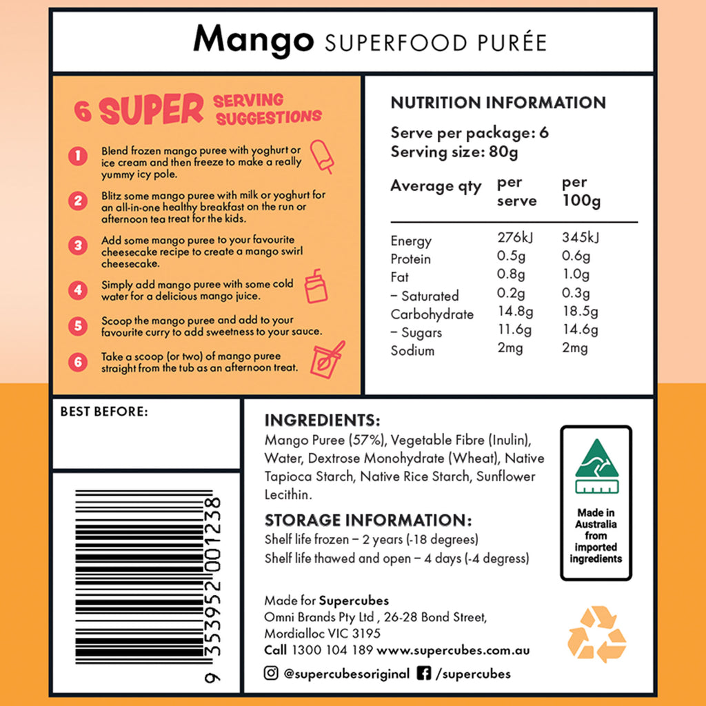 What's the ingredients in the Mango Superfood Purée 1L by Super Cubes