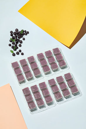 Frozen Acai Berry Smoothie Cubes in their trays