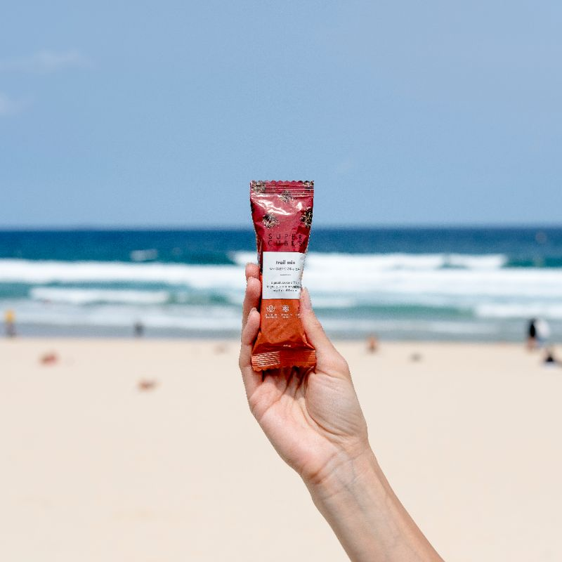 Take them anywhere, even to the beach, Trail Mix Wholefoods Bars