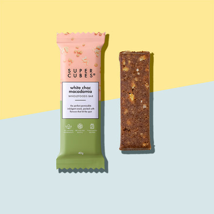 Buy your White Choc Macadamia Wholefoods Bars by Super Cubes now