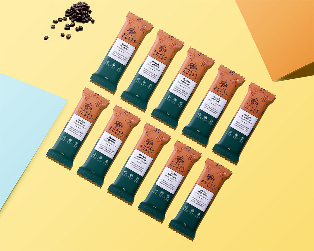 Double Espresso Wholefoods Bars laid out in a row, healthy snacks for you
