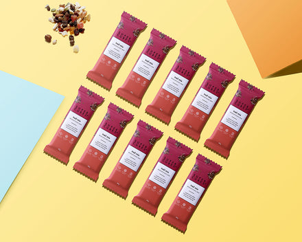 10 of the Trail Mix Wholefoods Bars by Super Cubes laid out for you