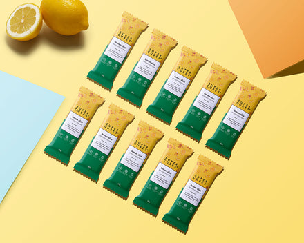 10 bars to a box of Lemon Slice Wholefoods Bars by Super Cubes