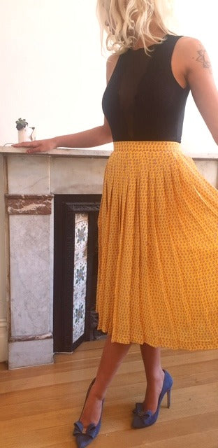 Oh Deer Vintage Yellow Polka Dot Skirt