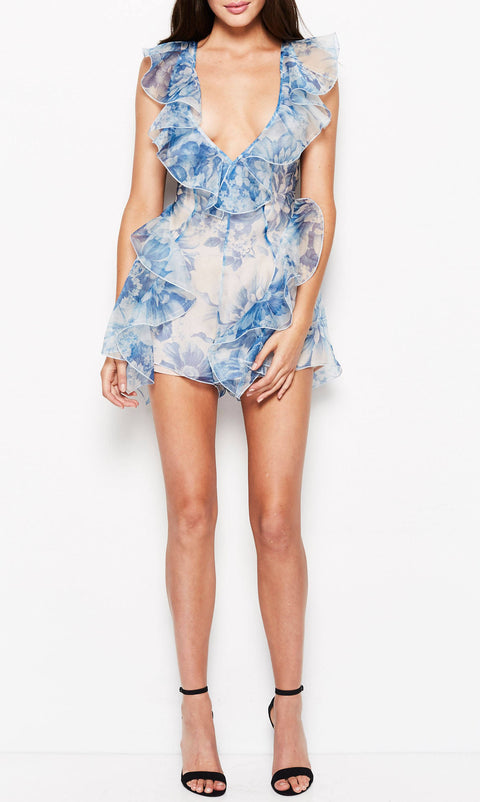 Alice Mccall Sherbert Bomb Playsuit Ocean Blue Floral (For Hire)