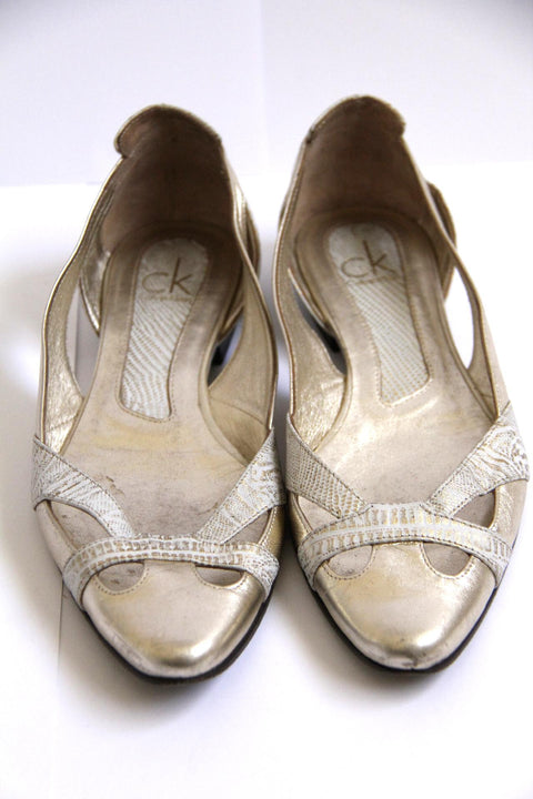 CALVIN KLEIN White & Gold Leather Flats