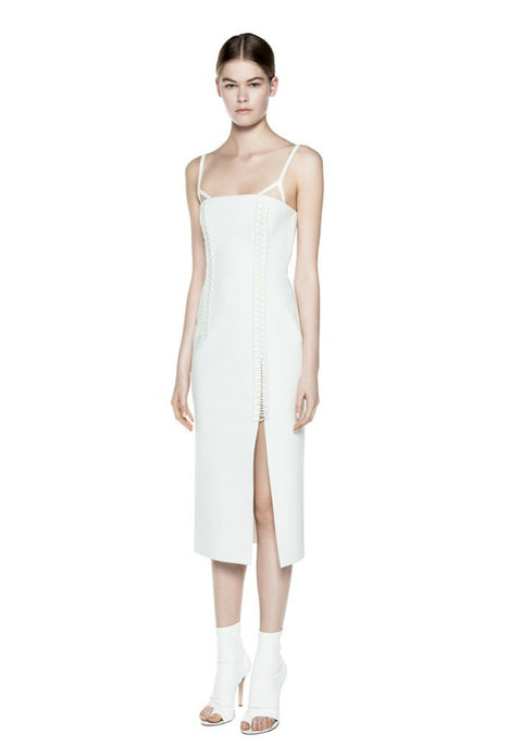 Dion Lee Corded Elastic Laced Coil Bustier Dress Ivory (For Hire)