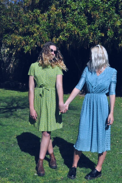 Oh Deer Vintage Green dress with floral print