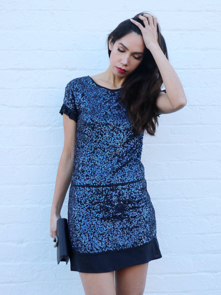 Cohen Et Sabine Blue Silk Sequin Mini Dress (For Hire)