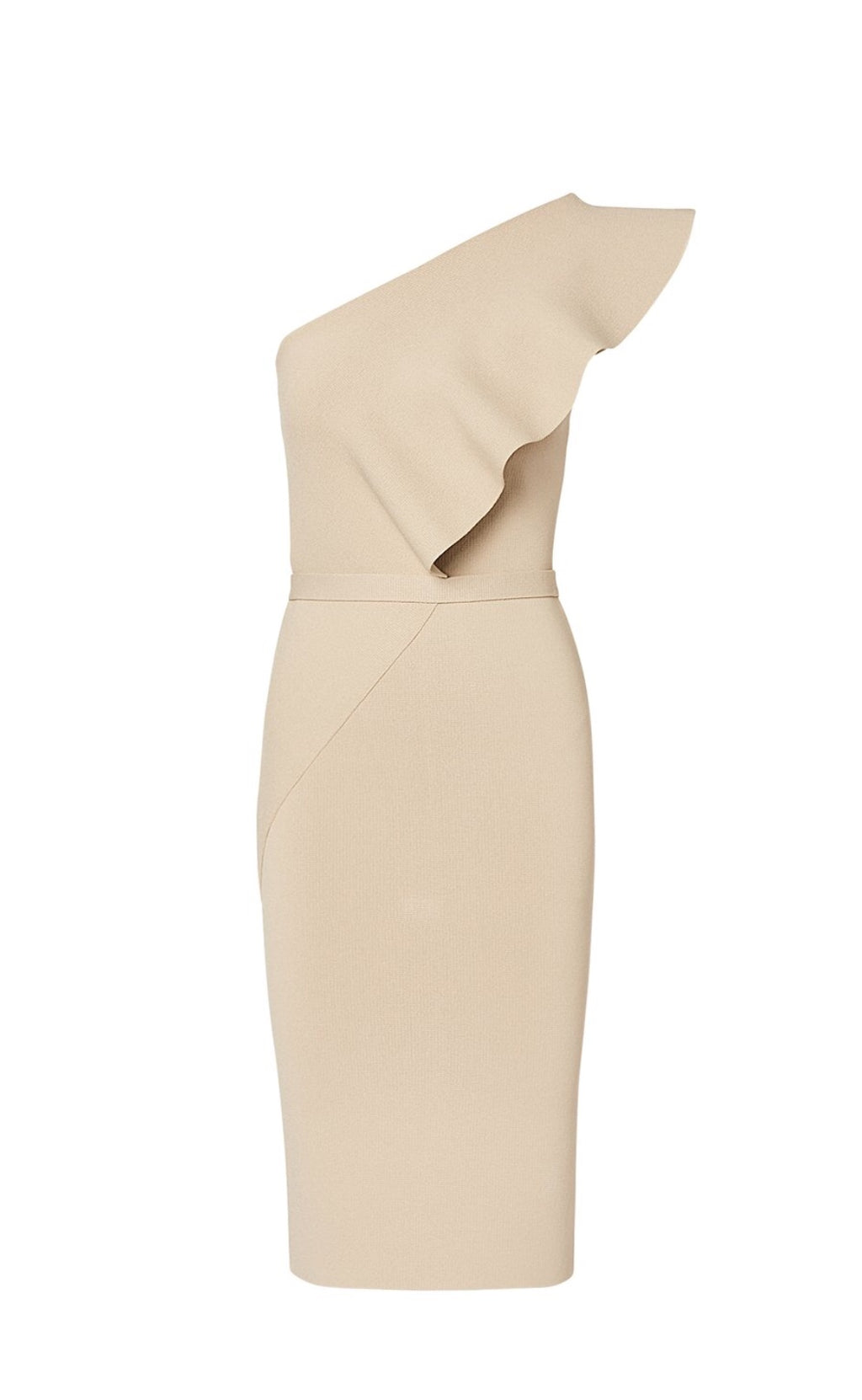 Scanlan Theodore Crepe Knit Ruffle Dress Cream (For Hire)
