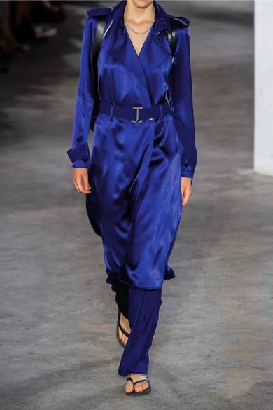 Dion Lee Silk Satin Trench & Pant Set Ultra Blue (For Hire)
