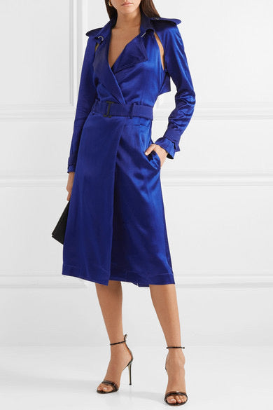 Dion Lee Silk Satin Trench Dress Ultra Blue (For Hire)