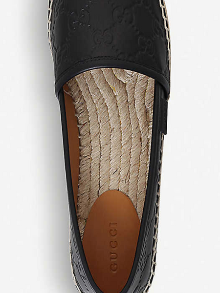 Pre Loved Black Leather Gucci Espadrilles