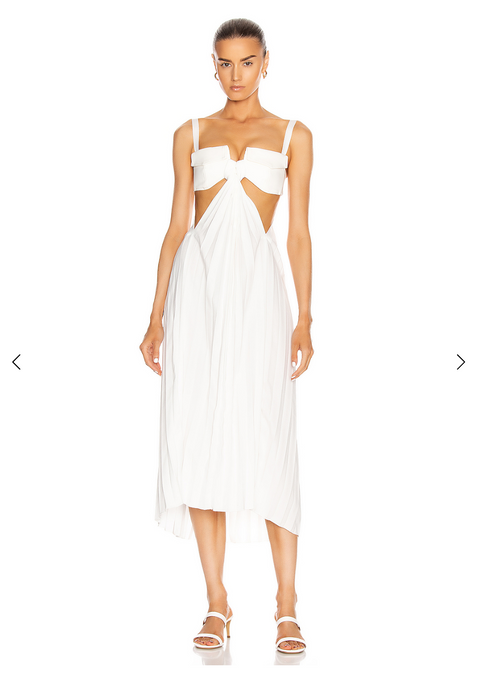 Dion Lee Cotton Bonded Pocket Bra Dress White (For Hire)