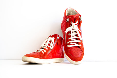 Chanel Red Leather and Suede Perforated CC Logo High Top Sneakers