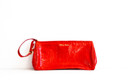 Miu Miu Red Croc-Embossed Wristlet