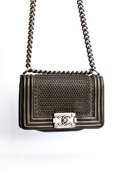 Chanel Lambskin Quilted Small Chain Mail Boy Flap Black